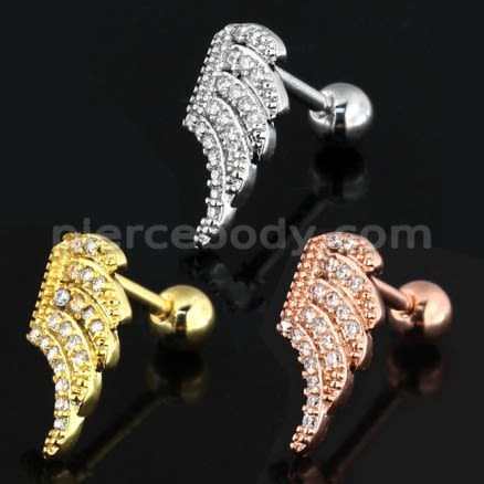 Jeweled Wing Cartilage Helix Tragus Piercing Ear Stud