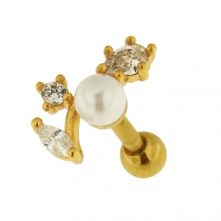 Jeweled Floral with Pearl Cartilage Helix Tragus Piercing Ear Stud