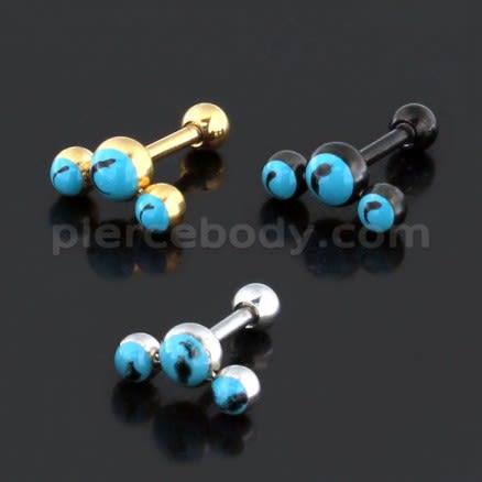 Tri Turquoise Stones Cartilage Helix Tragus Piercing Ear Stud