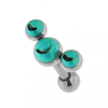 Tri Turquoise Stones Cartilage Helix Tragus Piercing Ear Stud