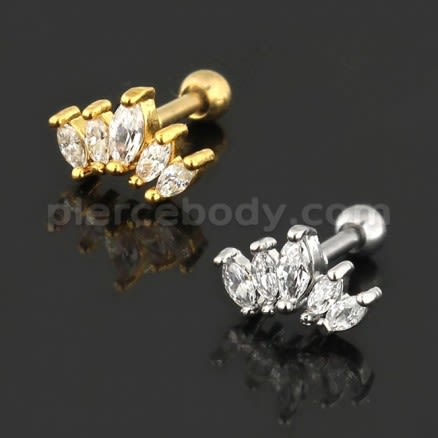 Jeweled Crown Cartilage Helix Tragus Piercing Ear Stud