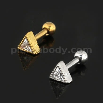 Jeweled Dotted Triangle Cartilage Helix Tragus Piercing Ear Stud