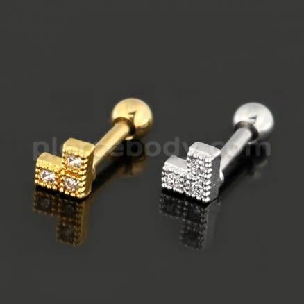 Jeweled Dotted Arrow Cartílago Helix Tragus Piercing Ear Stud