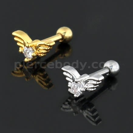 Jeweled Wings Heart Cartilage Helix Tragus Piercing Ear Stud