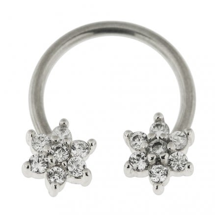 Surgical Steel Circular Bar with Flower Septum Piercing