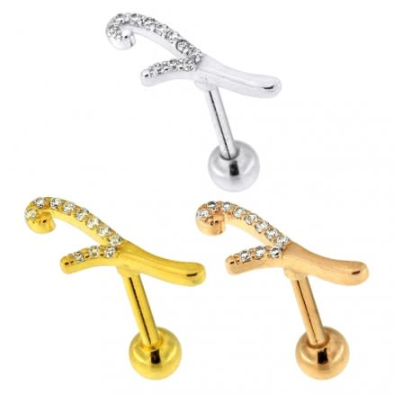 Micro Jeweled Floral Cartilage Helix Tragus Piercing Ear Stud