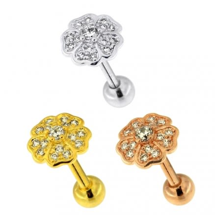 Flower Micro Jeweled Cartilage Helix Tragus Piercing Ear Stud
