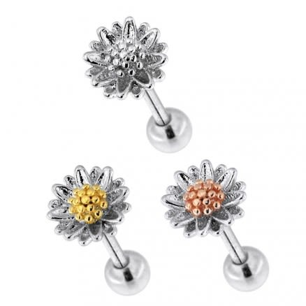 Daisy Flower Cartilage Helix Tragus Piercing Ear Stud