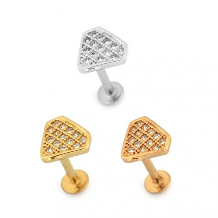Micro Jeweled Diamond Shape Cartilage Helix Tragus Piercing Ear Stud