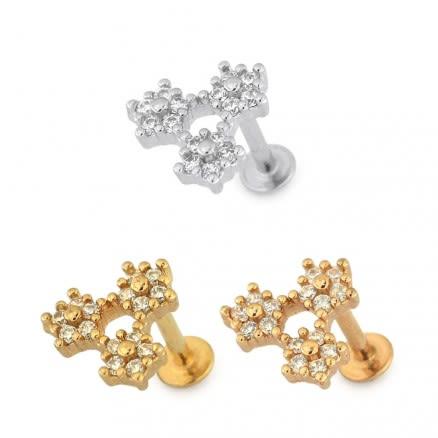 Tri Flower Cartilage Helix Tragus Piercing Ear Stud