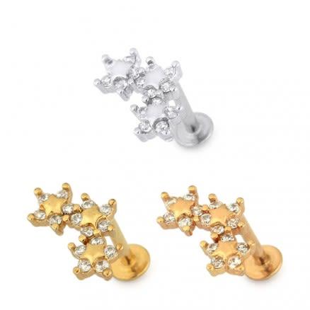 Tri Star Flower Cartilage Helix Tragus Piercing Ear Stud