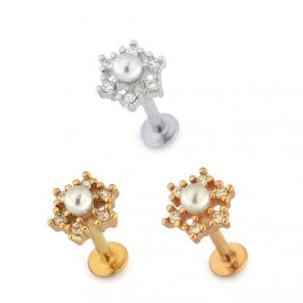 Flower with Pearl Cartilage Helix Tragus Piercing Ear Stud