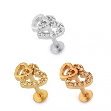 Jeweled Twin Heart Cartilage Helix Tragus Piercing Ear Stud