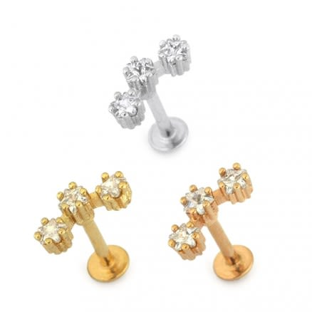 Jeweled Tri Star Cartilage Helix Tragus Piercing Ear Stud