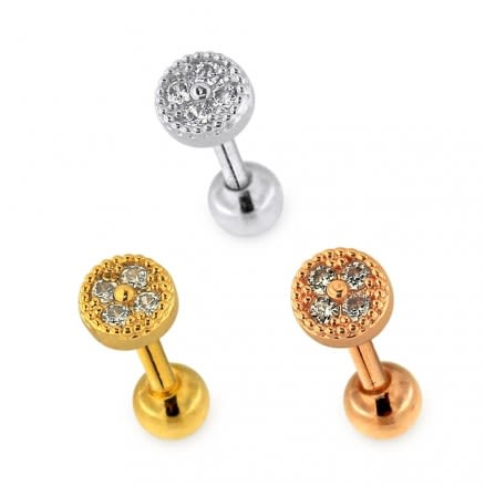 Micro Jeweled Round Dotted pattern Helix Tragus Piercing Ear Stud
