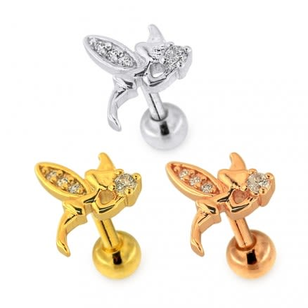 Micro Jeweled Witch with Wings Helix Tragus Piercing Ear Stud