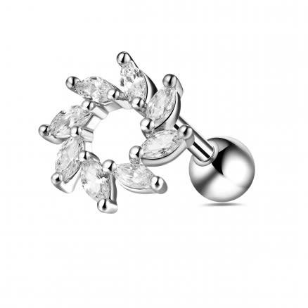 Jeweled Swirl Flower Helix Tragus Piercing Ear Stud