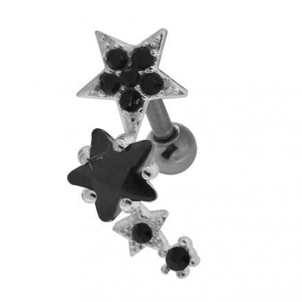 Multiple Sparkling Stars 925 Sterling Silver Cartilage Tragus Piercing