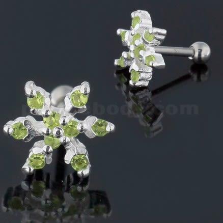 925 Sterling Silver Snowflake Cartilage Tragus Piercing Ear Stud