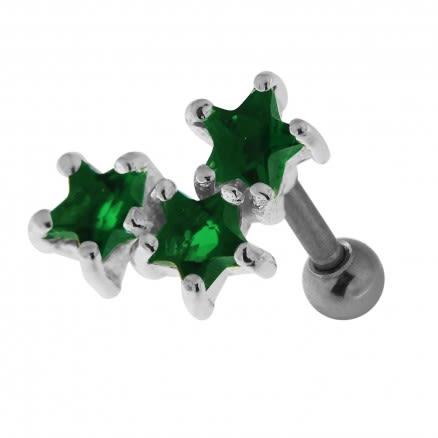 925 Sterling Silver Tri Star Cartilage Tragus Piercing Ear Stud