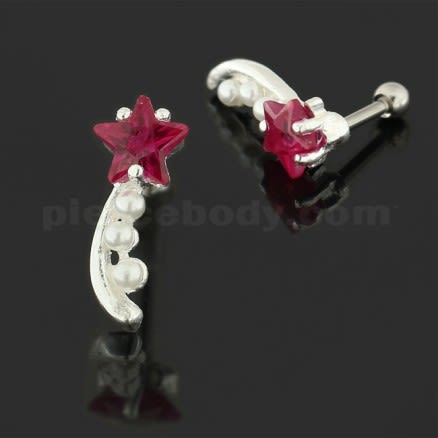 925 Sterling Silver Star with Pearl Tail Cartilage Tragus Piercing Ear Stud