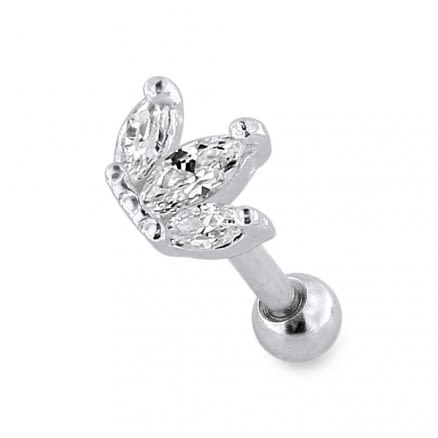 Sterling Silver Jeweled Crown Cartilage Helix Tragus Piercing Ear Stud