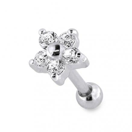 Sterling Silver Flower Fancy Jeweled Cartilage Helix Tragus Piercing Ear Stud