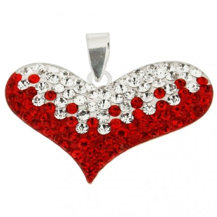 925 Sterling Silver Pendent Red Crystal Stone Heart