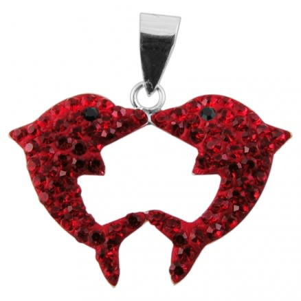 Crystal Red stone Dolphin Pendent