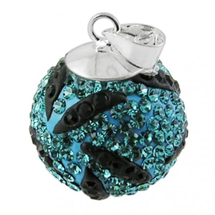 Crystal stone Silver Zebra 16mm Pendant Ball