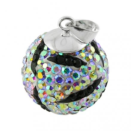 Multi Mix Crystal stone Silver Zebra Pendent Body Jewelry