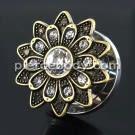 Oxidized Flower Micro Jeweled CZ Stone Ear Flesh Tunnel