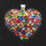 925 Sterling Silver Multi Color Jeweled 30MM Heart Pendant