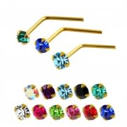 14K Gold Crystal Jeweled L-Shaped Nose Stud
