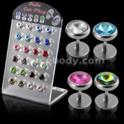 Jeweled Invisible Fake Ear Plug in a Display