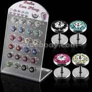 Multi Jeweled Invisible Ear Plug in a Display