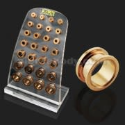 Rose Gold Platted External Screw Fit Ear Flesh Tunnel in Tray