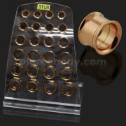 Internal Screw Fit Rose Gold Platted Ear Flesh Tunnel in Tray