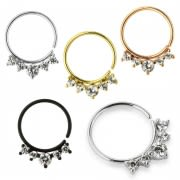 Five CZ's Jeweled Cartilage, Tragus, Septum Ring Jewelry