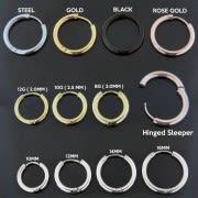 Surgical Steel Hinged Sleeper Earrings Hoops
