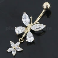 Dangling Jeweled Butterfly 14K Gold Belly Ring