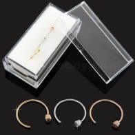 9K Auksinis Atviras Hoopas Nosis Žiedas su Bezel Setting CZ dėžutėje