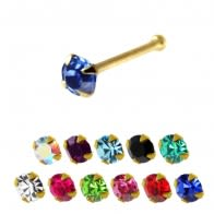 14K Gold Crystal Jeweled Ball End Nose Pin