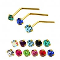 14K Gold Crystal Jeweled L-Shaped Nose Stud