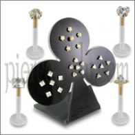 24 Pcs of Bio Lip Labret Piercing Jewelry with 14K Gold Head in a Display