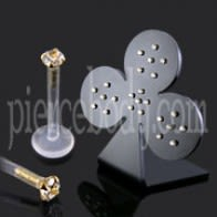 24 Pcs of Bio Labret with 14K Gold Head in a Display