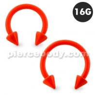 Neon Orange 316L Surgical Steel Circular Barbell with Cone