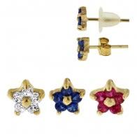 9K Gold Flower Crystal Jeweled Ear Stud