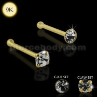 9K Yellow Gold Genuine Crystal Ball End Nose Pin