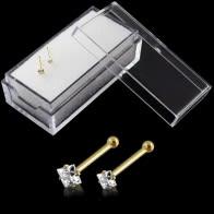 9K Kieto Yellow Gold Nosis Kaulų Stud su Square CZ dėžėje